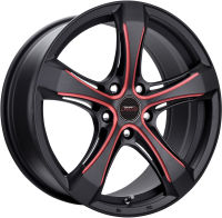 Ashton - Black Machined Face Red Milled - 17 x 7.5, 18 x 8